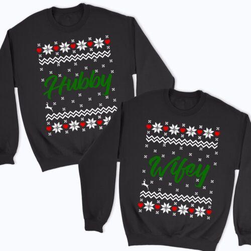 Hubby y Wifey Navidad Sudadera puentes Top familia hermanos parejas Navidad