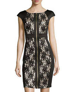 NWT JAX Black Floral Lace Exposed Zip-Front Cap-Sleeve ...