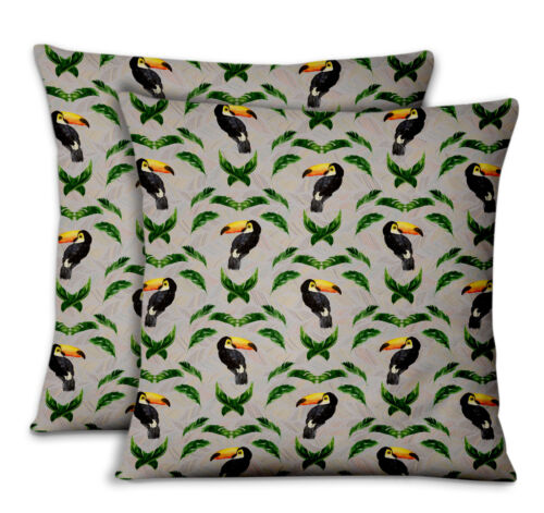 S4Sassy Toucan /& Leaf Home Decor Printed Fabric Cushion Cover 2Pcs-BRD-21D