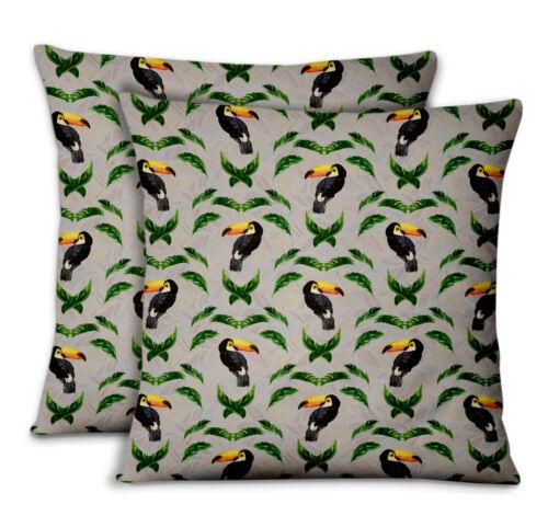 S4Sassy Toucan /& Leaf Home Decor Printed Fabric Cushion Cover 2Pcs-BRD-21D