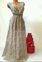 Victoria's Secret Cotton Silk Belted Maxi Cover-up Dress Animal Print Medium