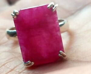 925-Sterling-Silver-Natural-African-Ruby-Octagun-Shape-Ring-Mother-039-s-day