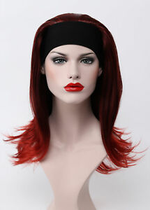 Red Black Mix Long Straight Anti-Alice Women 3 4 half Daily Life wig ... ded919165