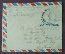 1945 Servicio Postal del Ejército de Estados Unidos Cubierta de correo aéreo reutilizado a Glen Parva bcks, Wigston