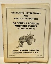 Original Allis Chalmers 60 Series 1 Bottom Plow Operators Parts Manual 1416