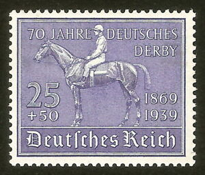 DR-Nazi-3rd-Reich-RARE-WW2-STAMP-1939-Hitler-039-s-DERBY-Horse-Racing-70-Anniversary