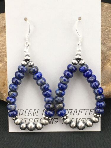 "Navajo Sterling Silver Bead Lapis Lazuli Dangle Earrings 2"" 1250"