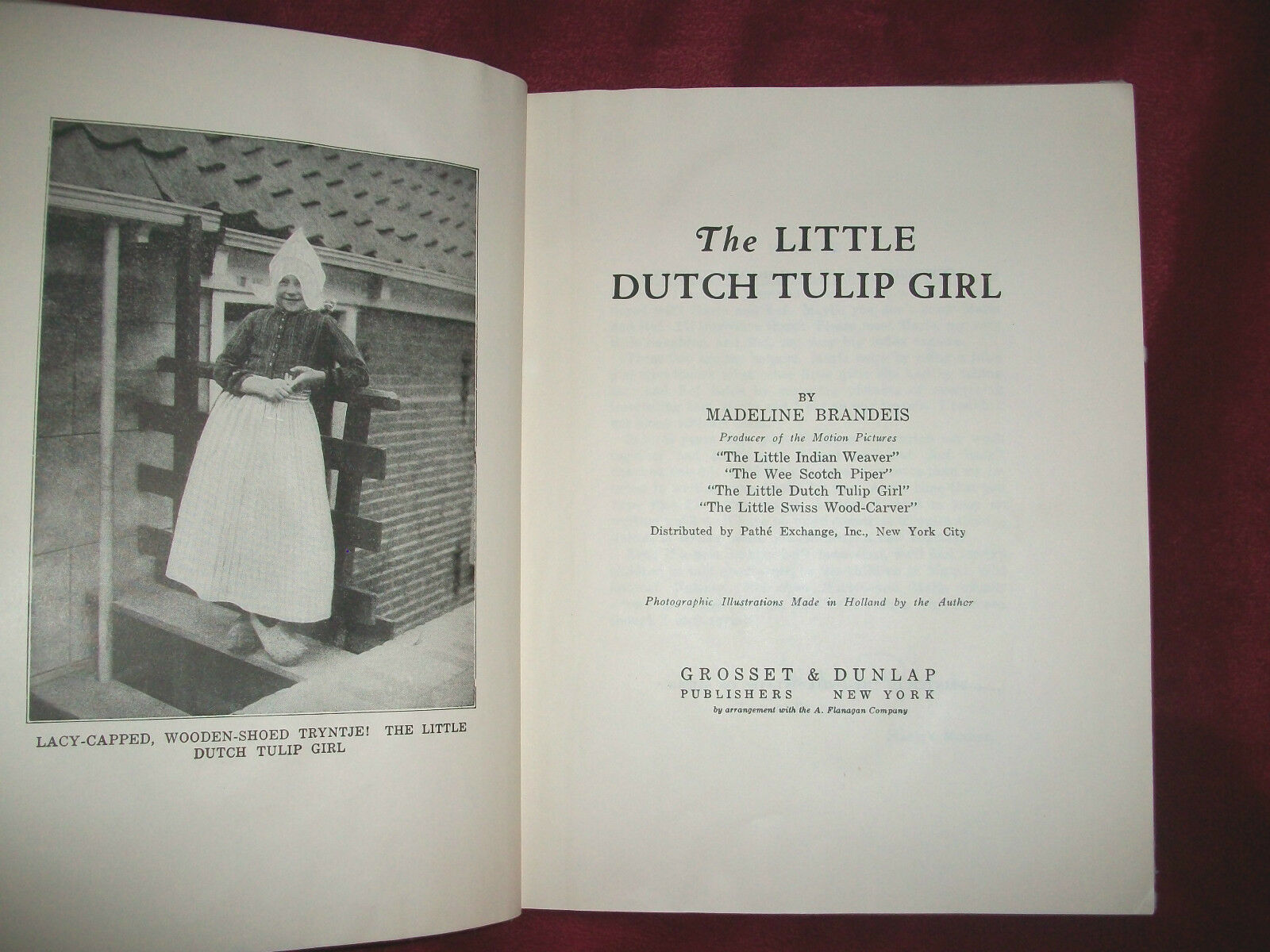 1929 THE LITTLE DUTCH TULIP GIRL by Madeline Brandeis Illustrated Book