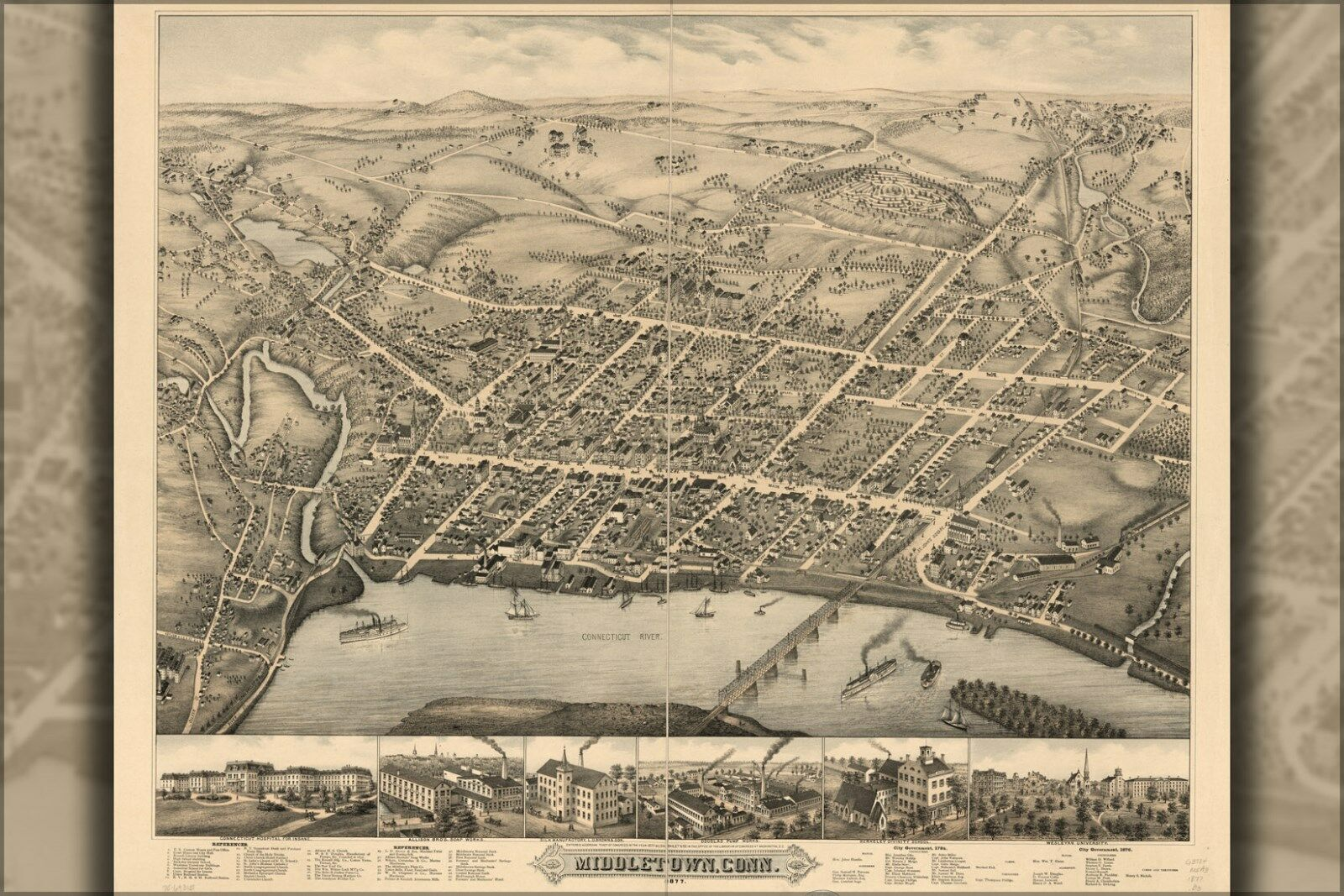 Poster, Many Größes; Map Of Middletown, Connecticut 1877