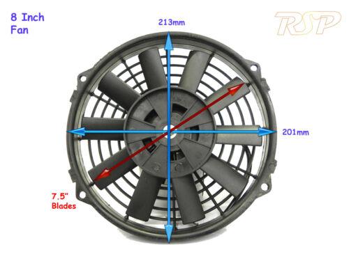 "7.5/"" Blade Universal 12 volt Slim Radiator Fan 213 x 201 x 65mm With 30amp Relay"