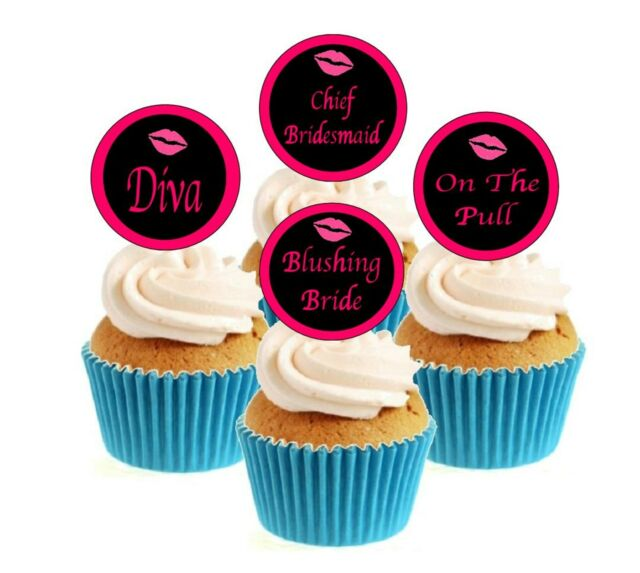 12 x Hen Night Bride Edible Stand Up Wafer Cake Cupcake Toppers