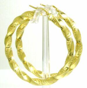 Edle-Damen-Creolen-Ohrringe-585-Gold-14-K-Gelbgold-gedreht-mit-Maeander-Muster