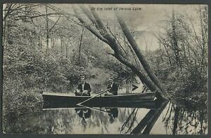 Verona-NJ-c-1909-Postcard-AT-THE-INLET-OF-VERONA-LAKE-Men-in-Rowboat