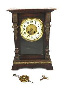 Antique-19th-Century-Art-Nouveau-Brass-Figural-Nude-Woman-Wood-Mantle-Clock
