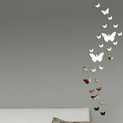Butterfly DIY 3D Art Silver Acrylic Mirror Wall Sticker Home Decoration 30Pcs