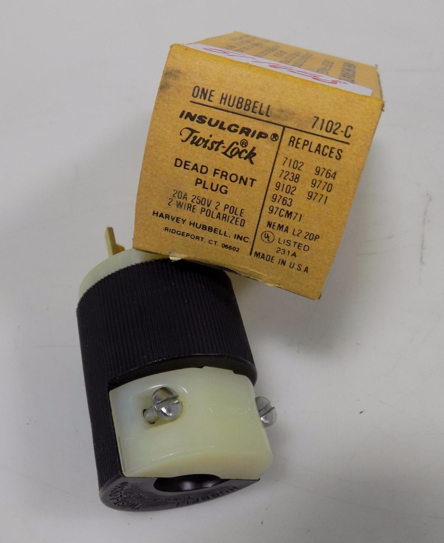 Hubbell 7102c Twist Lock Dead Front Plug 20a 250v Ebay Wiring A Polarized