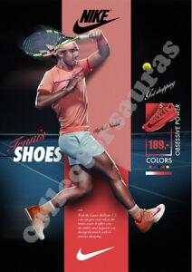 Pinchazo sesión donante  NIKE Just Do It - Rafael Nadal Tennis Champion - Advert A4 size HD print |  eBay