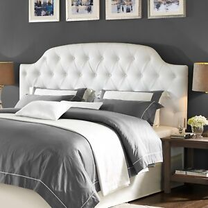 Image Is Loading King Size Bed Headboards Tufted Upholstered Headboard White