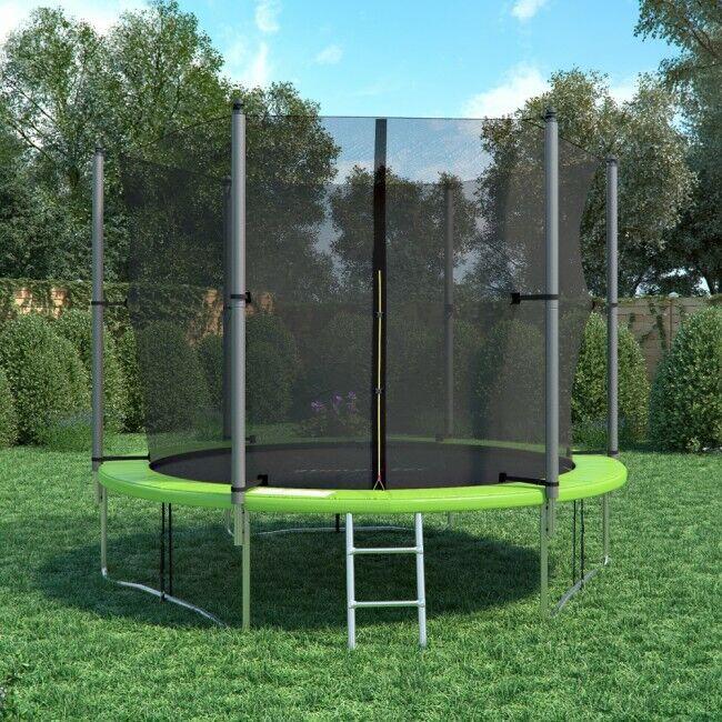 Trampolino da Giardino verde con Scala e Rete di Sicurezza Varie Dimensioni