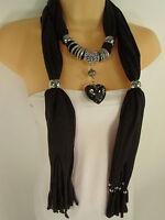 Women Dark Brown Scarf Fabric Fashion Long Necklace Silver Heart Pendant Charm