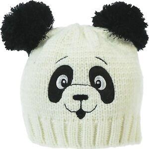 f7d5e8927c0 Women s Panda Knitted Hat Animal Beanie Lined Winter Stylish White ...