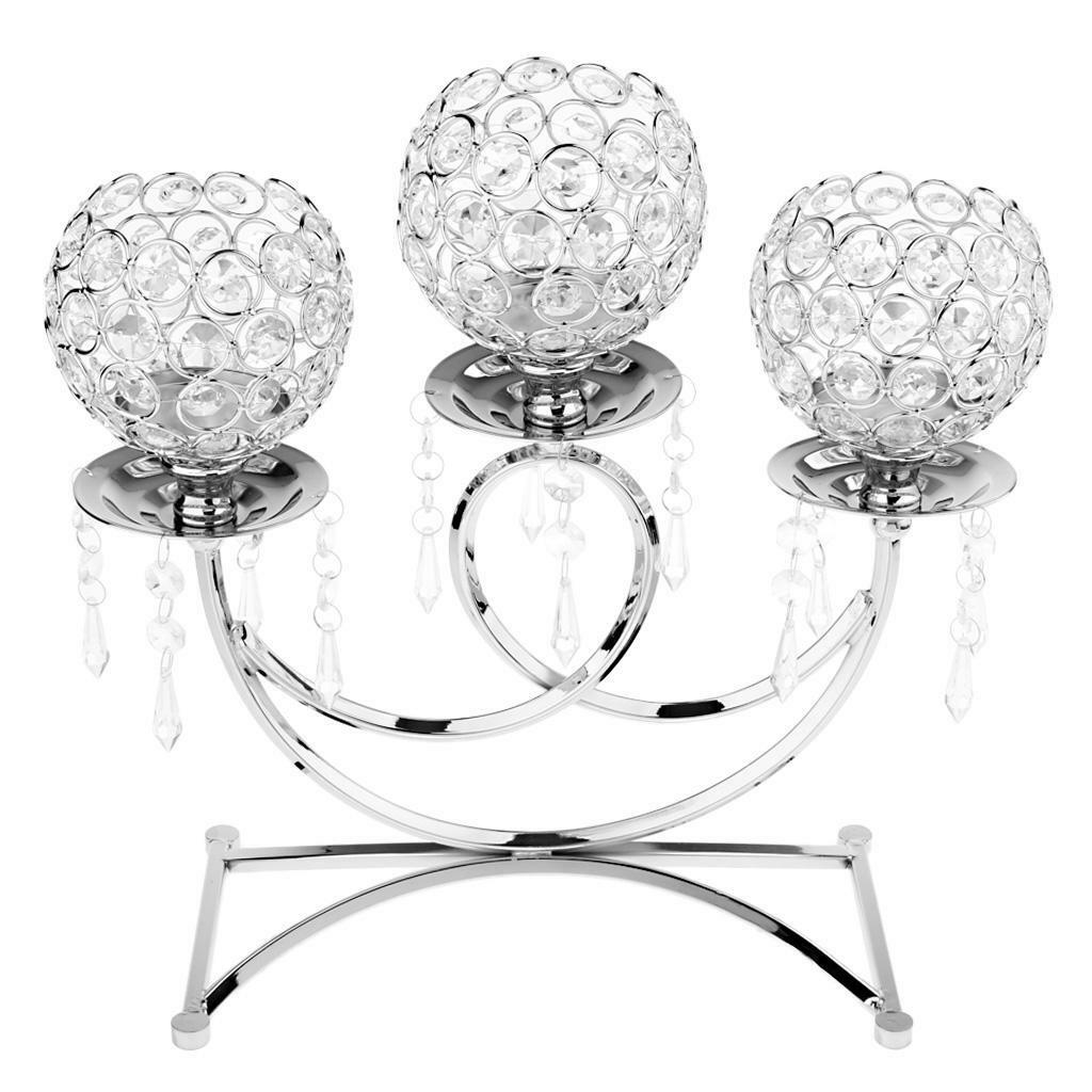 3 brazos Vintage Sostenedor de Vela Candelabros Plata Decoración para Boda Artesanías De Cristal