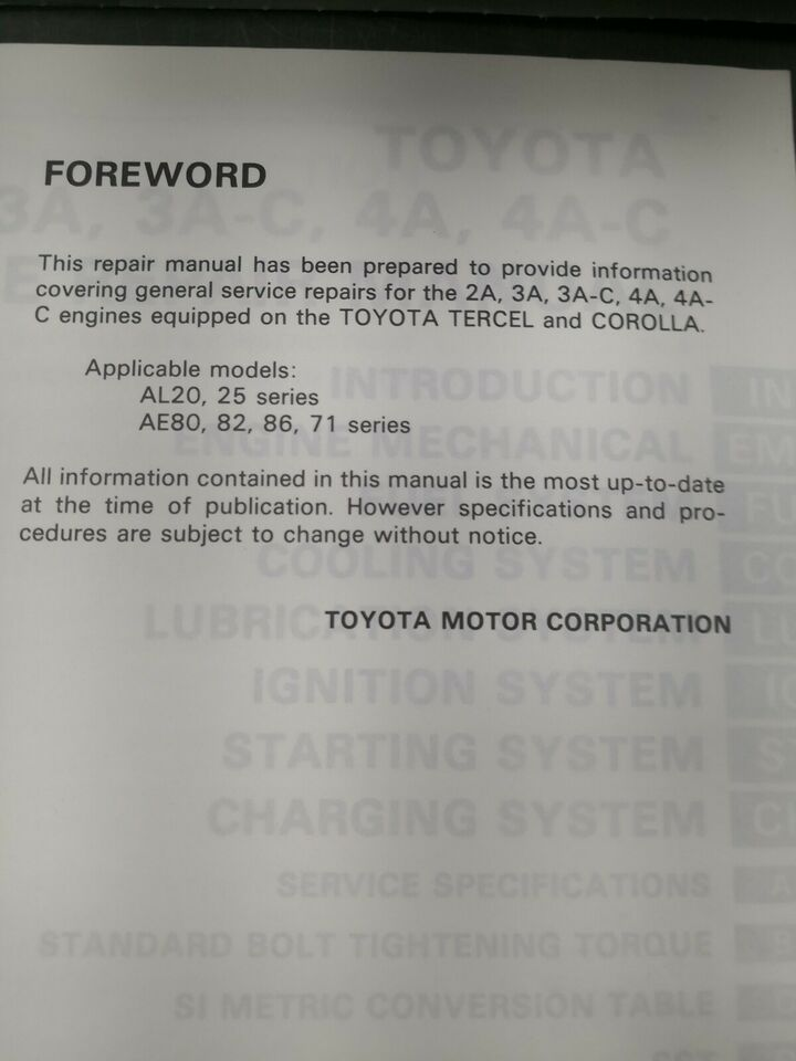 Reparationsbog, Toyota Corolla Ae serie mv