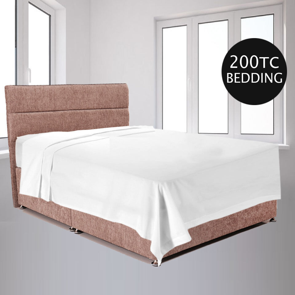 Flat Bed Sheets PERCALE Quality 200TC 100% Cotton 4 Größes Weiß only Packs