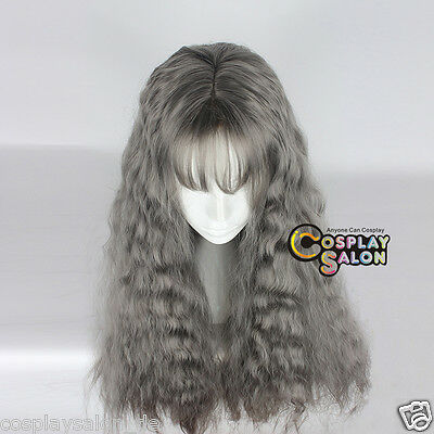 Damen Anime Coslay Wig Perücke Grau 70cm Lang Party Haar Locken Klassisch Haar