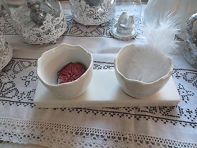 2 x Ei auf Tablett zum Bepflanzen * Keramik * weiß * Ostern * Landhaus* Vintage*