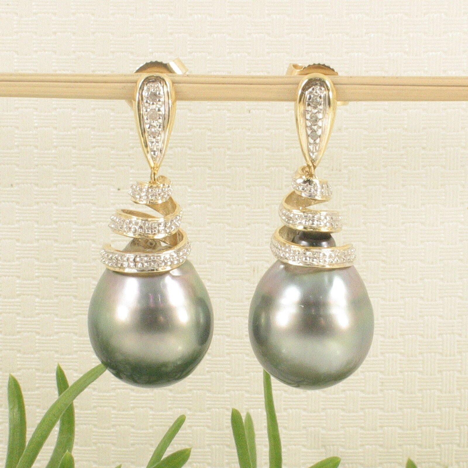 Genuine Diamonds & Tahitian Pearl 14k Yellow gold Dangle Earrings TPJ