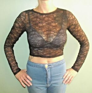 FAB-NEW-LADIES-EX-RIVER-ISLAND-SHEER-STRETCH-LACE-TOP-CREAM-BLACK-6-8-10-12-14