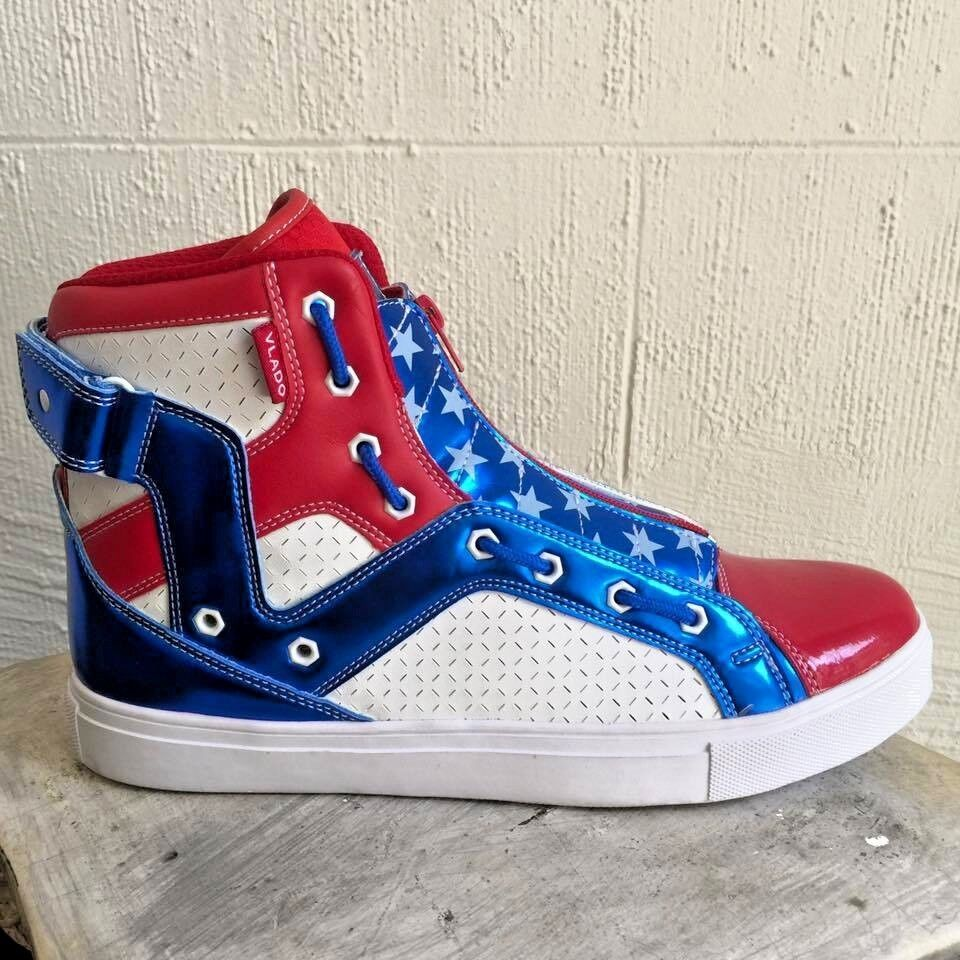 Men's American Flag Vlado White   bluee   Red Boots