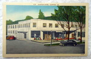 LINEN-POSTCARD-CLAYTON-HOTEL-OLD-CARS-CLAYTON-GEORGIA-GS6