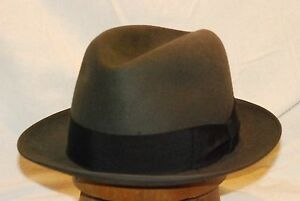 5e210bca81f Fedora Dark Grey Borsalino Vintage Men s Hat with Black Band -- Size ...