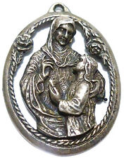 LARGE VINTAGE WESTON STERLING SILVER ORNATE RELIGIOUS MOTHER MARRY PENDANT