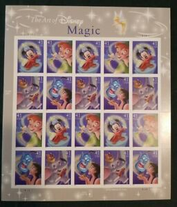The Art of Disney MAGIC, 20 41¢ Stamp Sheet, Very Fine Condition