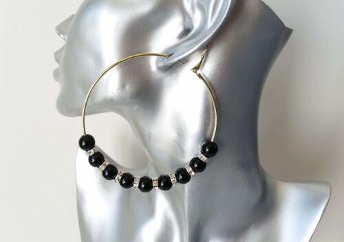 diamante /& black bead wire hoop earrings NEW Beautiful large gold tone