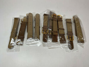 Brown Suede Leather 18 MM Watch Straps with Stitching and Gold Buckle 10 pcs.