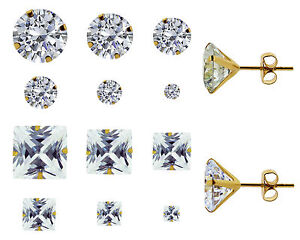 Image Is Loading 9ct Yellow Gold Round Square Cubic Zirconia Stud