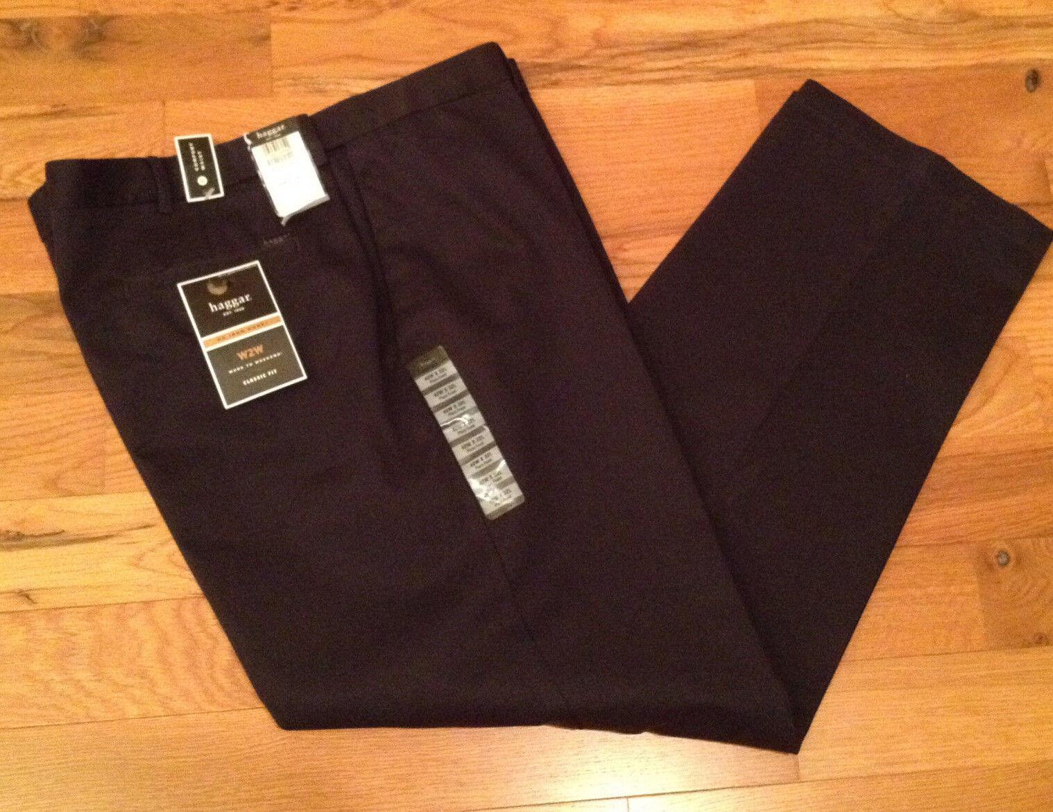 553715d94cf NWT Haggar W2W Classic NAVY Khaki FLAT Pants Mens 42 x 32 COMFORT ...