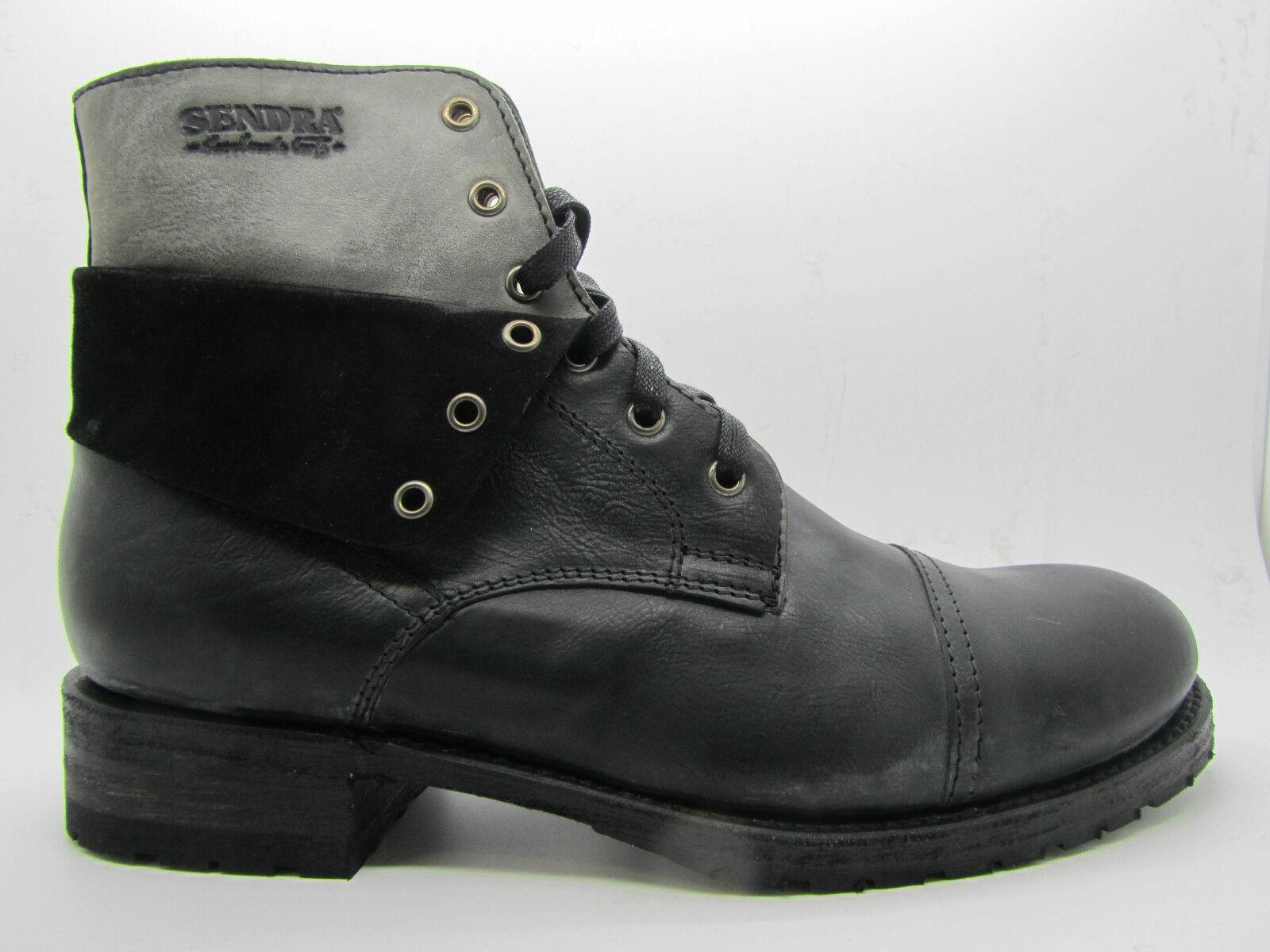 Sendra 11934 Men Ankle Chukka Boots  Bike Black Leather Biker Lace Up