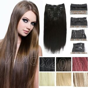 Clip in remy human hair extensions all colors full head 140g 180g image is loading clip in remy human hair extensions all colors pmusecretfo Images