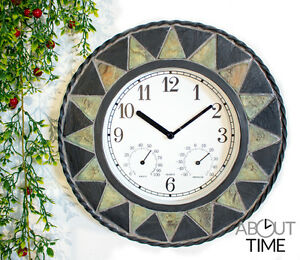 Etonnant Image Is Loading Outdoor Garden Clock  Wall Thermometer Slate Effect Patterned