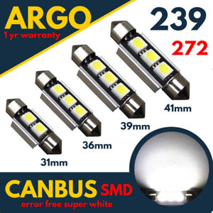 239-272-C5W-Number-Plate-White-Festoon-Light-31-36-39-41-mm-Bulbs-Lamps-Car-12v