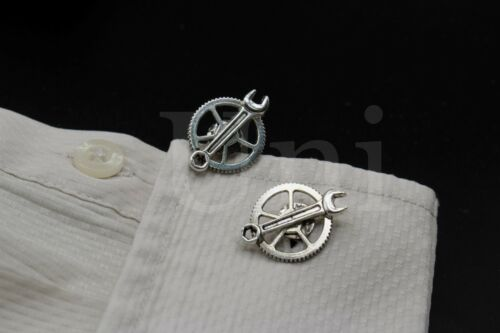 Silver Bronze Gear Tool Movement Cufflinks For Mechanical Construction Wrench