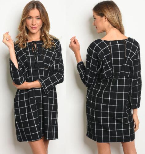 NEW FASHION WOMENS PLAID CHECKS FLANNEL LONG SLEEVE SHORT CASUAL TUNIC DRESS