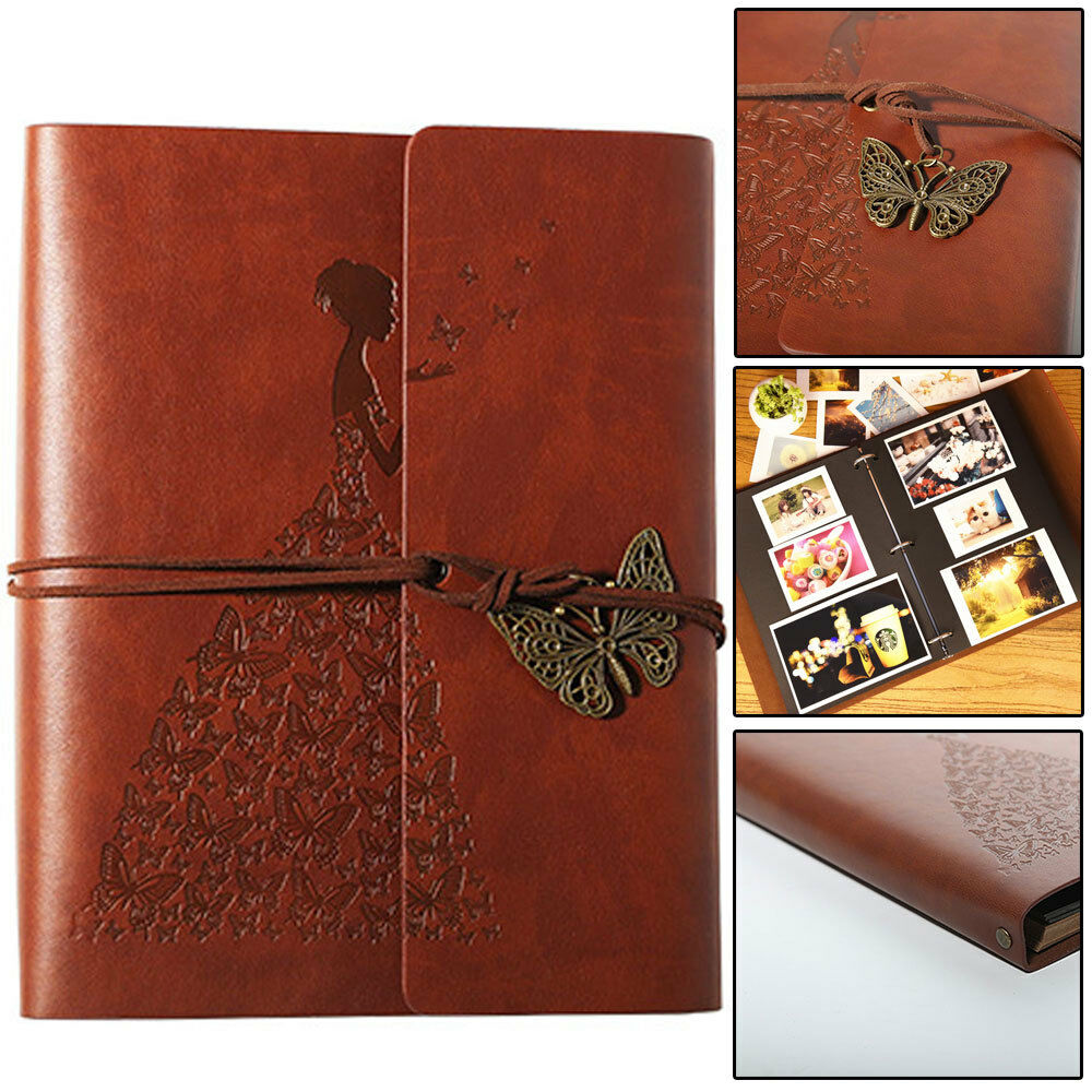 30 page Photo Album Leather Scrapbook Gifts Vintage Albums Travel Holiday DIY UK