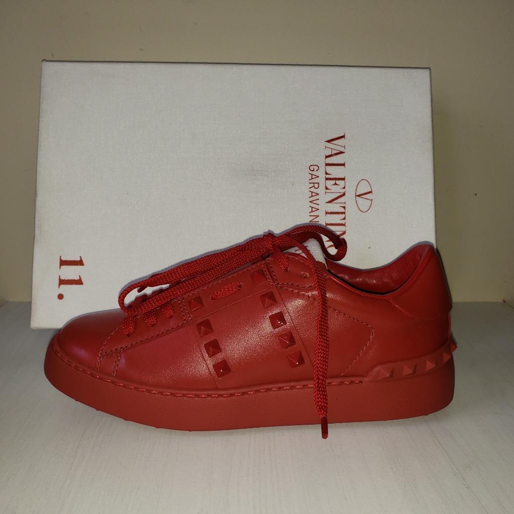 Valentino Garavani 11. Women Rockstud Rockstud Rockstud Studded Leather Sneakers shoes Red  795 faa90f