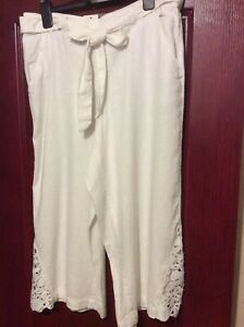 Ladies-Fab-3-4-Length-White-Capri-Trousers-Size-12-From-George-BN-14